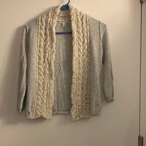 3/4 sleeve cardigan, light gray, xs
